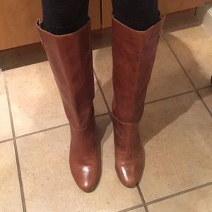Intyce Leather Slouch Buckle Boot by Steve Madden